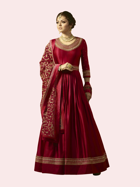 Designer Red Embroidered Anarkali Suit