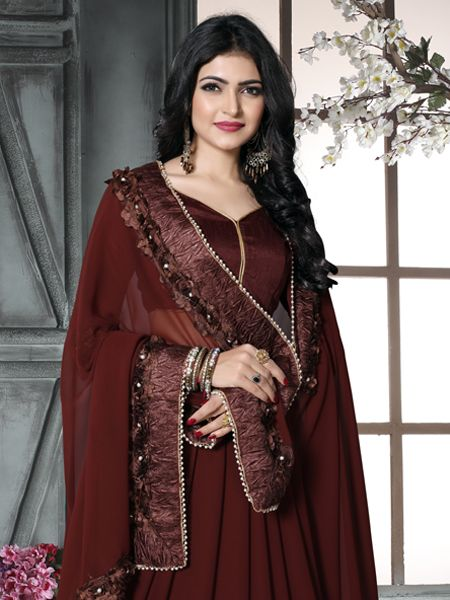 Fancy Brown Georgette Saree