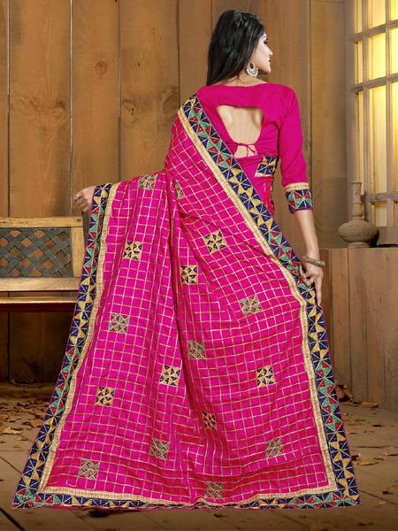 Fancy Pink Silk Saree