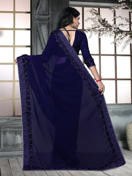 Fancy Blue Georgette Saree