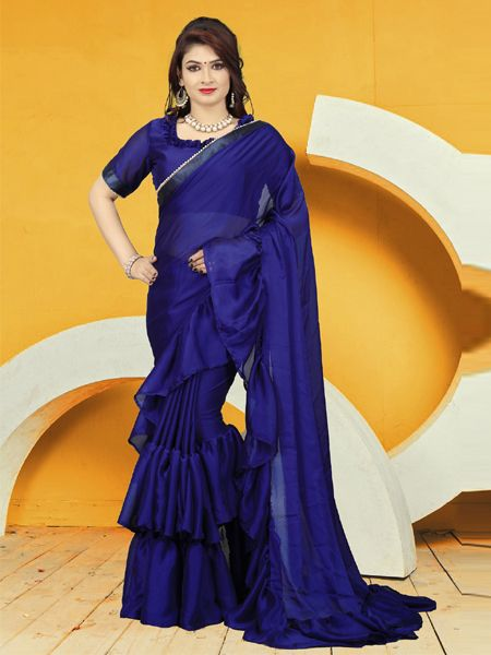 Fancy Blue Ruffle Saree