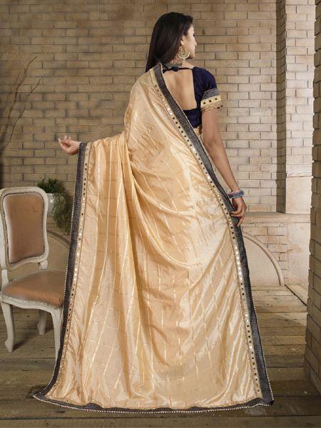 Designer Beige Silk Saree