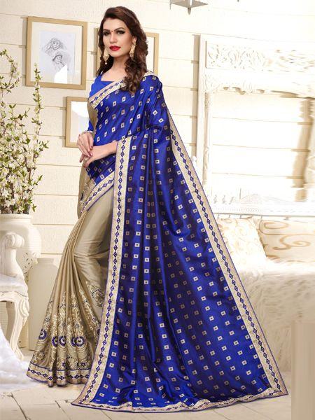 Fancy Blue Silk Saree