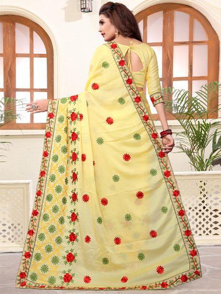 Designer Silk Saree in Yellow