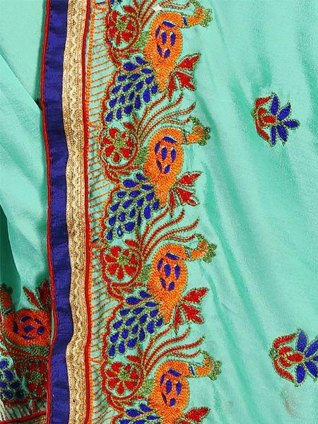 Fancy Turquoise Silk Saree