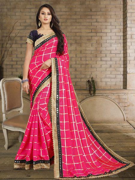 Designer Pink Checked Silk Saree