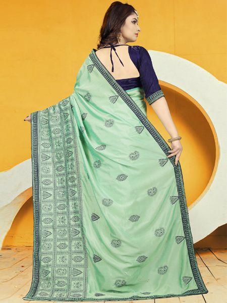 Designer Turquise Silk Saree
