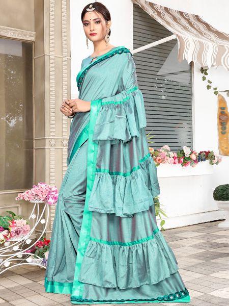Designer Ruffle Silk Saree in Green