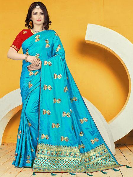 Designer Light Blue Silk Saree