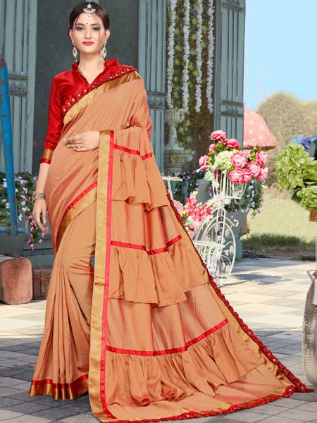 Designer Brown Ruffle Silk Saree with Red Shades