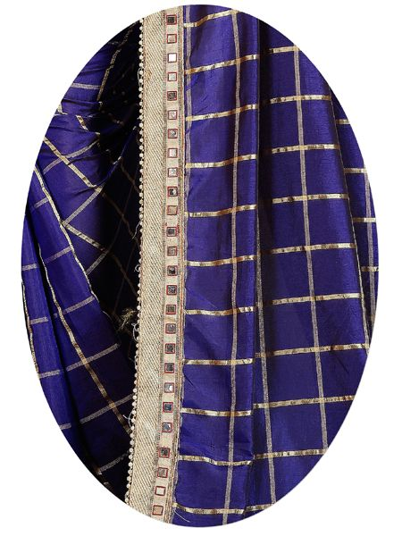 Designer Blue Checked Silk Saree