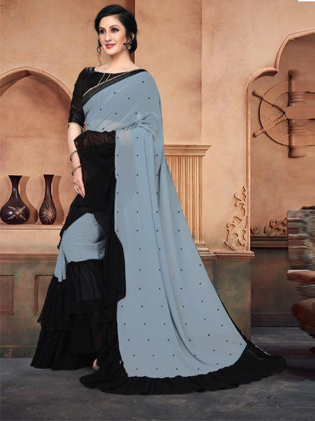 Designer Grey Georgette Saree With Black Blouse