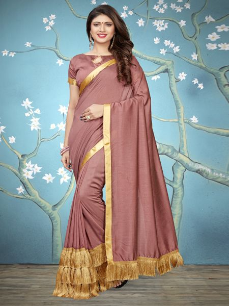 Designer Peach Ruffle Silk Saree With Blouse