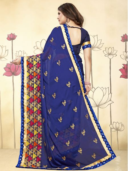 Designer Blue Mirror Work Silk Saree