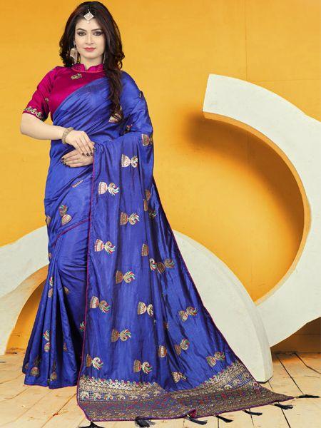 Designer Blue Silk Saree With Pink Blouse