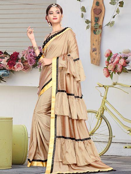 Designer Beige Ruffle Silk Saree with Beige Blouse