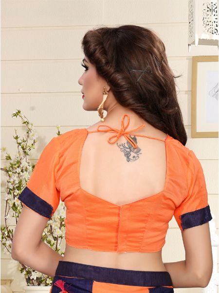 Designer Orange  Silk Saree With Orange Blouse