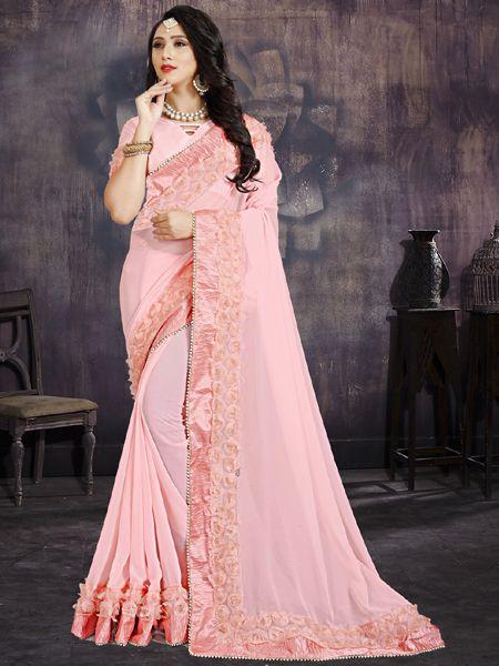 Designer Flower Work Light Pink Georgette Saree With Blouse