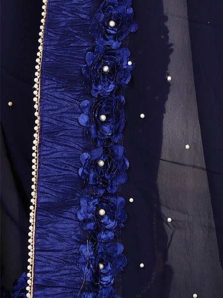 Designer Blue Georgette Saree With Blue Blouse