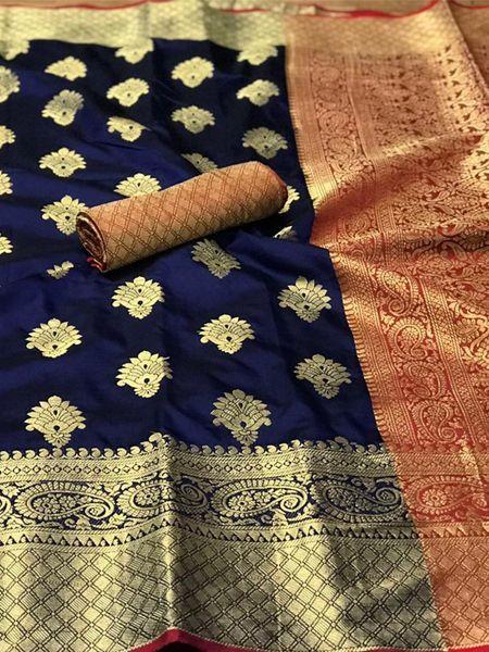 Blue Banarasi Silk Saree With Heavy Pallu