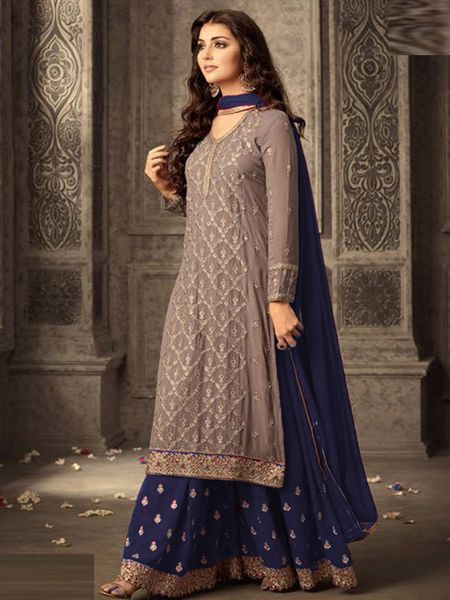 Buy Grey and Purple Georgette Sharara Suit Online in India - YOYO Fashion