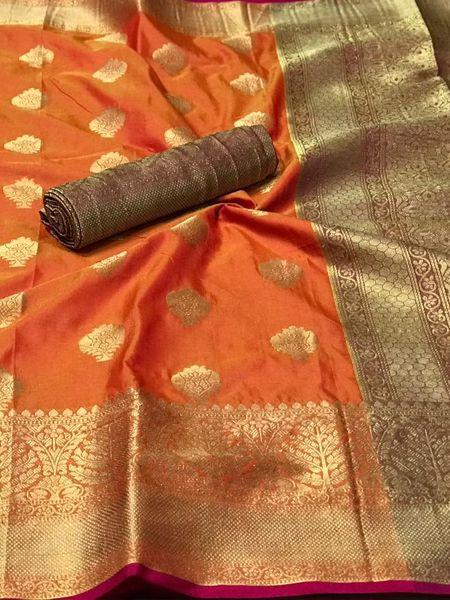 Orange Banarasi Silk Saree with Heavy Pallu