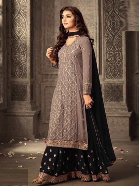 Buy Grey and Black Georgette Sharara Suit Online in India - YOYO Fashion