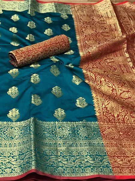 Firoji Banarasi Silk Saree with Heavy Pallu