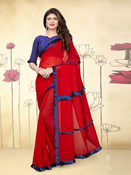 Buy Fancy Ruffle Red Georgette Saree Online in India -YOYO Fashion