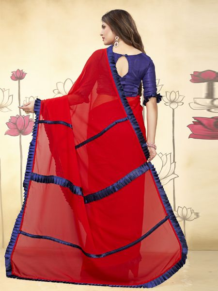 Fancy Ruffle Red Georgette Saree