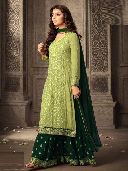 Buy Green Georgette Sharara Suit Online in India - YOYO Fashion