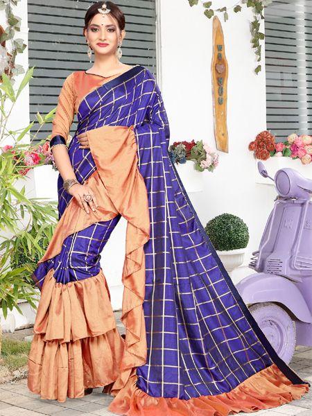 Designer Ruffle Blue Silk Saree