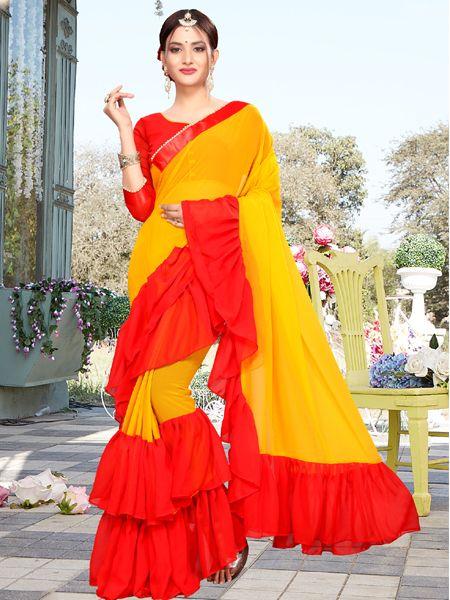Designer Ruffle Yellow Georgette Saree