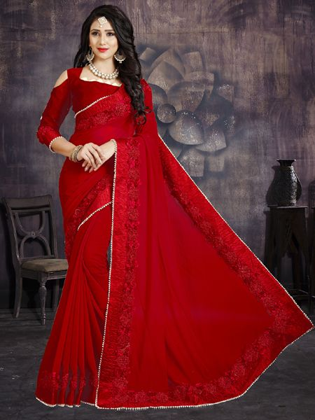 Buy Designer Red Flower Georgette Saree Online in India- YOYO Fashion
