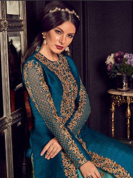 Blue and Firoji Long Anarkali Gown