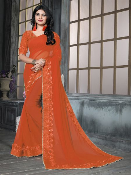 Designer Orange Partywear Georgette Saree