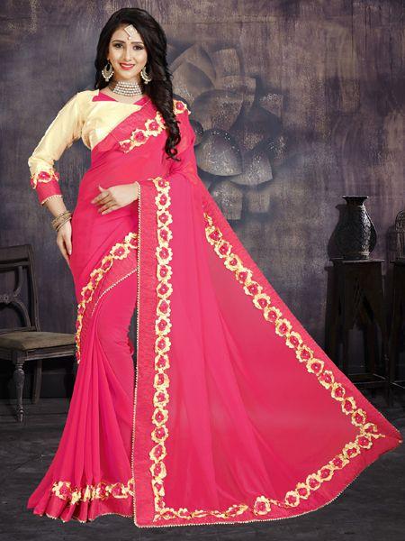 Designer Pink Georgette Partywear Saree