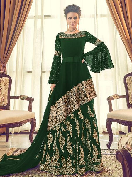 Buy Designer Green Pakistani Sharara Suit Online in India - YOYO Fashion