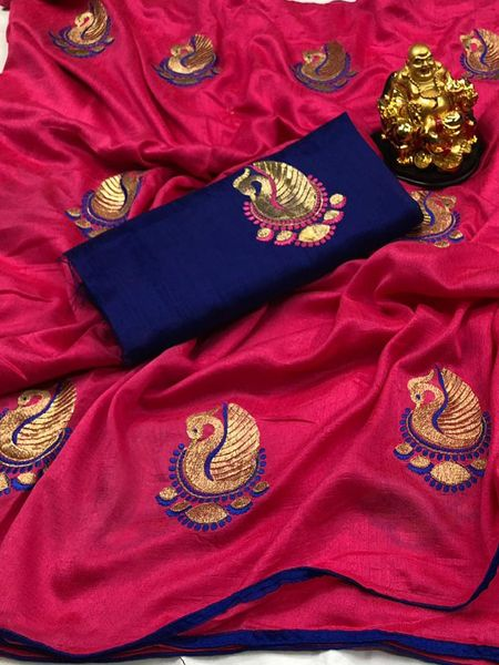 Buy Pink Peacock Motif Soft Silk Saree Online in India - YOYO Fashion