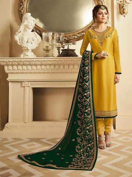 Yellow Satin Georgette Salwar Kameez