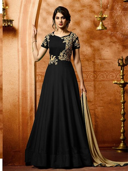 Buy Superb Black Anarkali Salwar Suit Online- YOYO Fashion