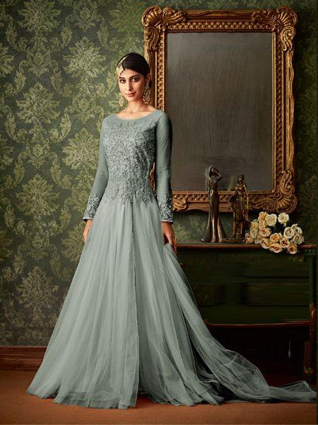 Designer Grey Net Anarkali Dress