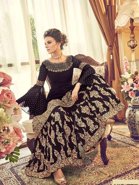 Designer Violet Pakistani Sharara Suit