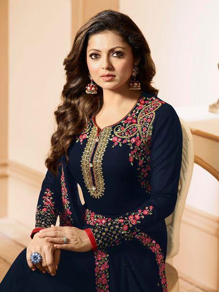 Designer Georgette Blue Salwar Kameez