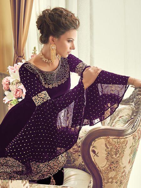 Designer Purple Pakistani Sharara Suit