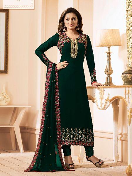 Designer Georgette Green Salwar Kameez