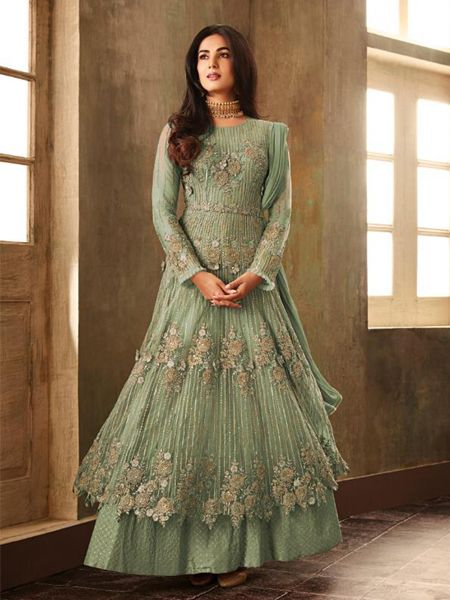 Green Net Embroidered Pakistani Suit