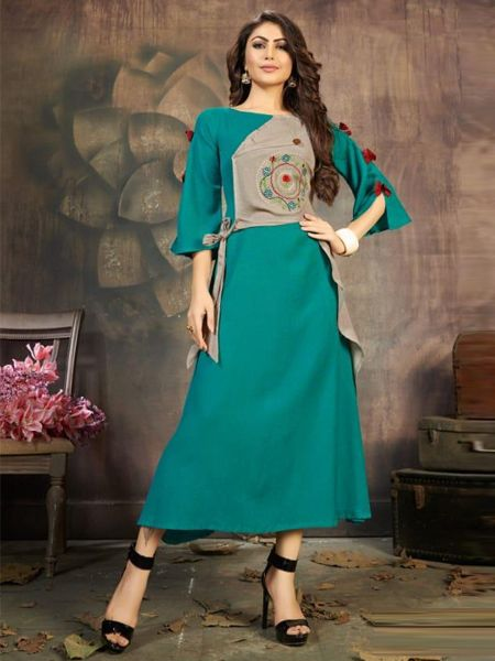 Buy Designer Firoji and Grey Long Kurti Online in India- YOYO Fashion