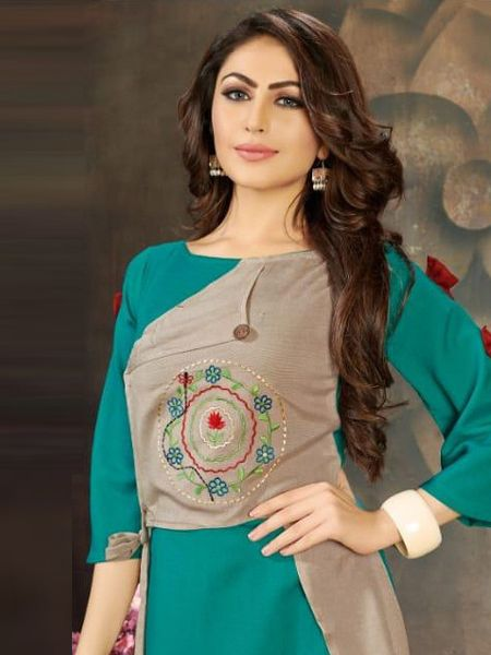 Designer Firoji and Grey Long Kurti