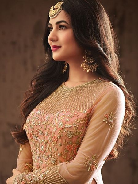 Peach Heavy Embroidered Anarkali Gown